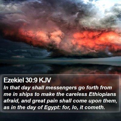 Ezekiel 30:9 KJV Bible Verse Image