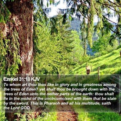 Ezekiel 31:18 KJV Bible Verse Image