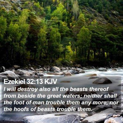 Ezekiel 32:13 KJV Bible Verse Image