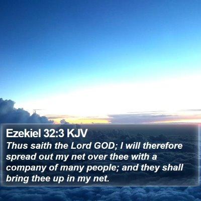 Ezekiel 32:3 KJV Bible Verse Image