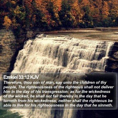 Ezekiel 33:12 KJV Bible Verse Image