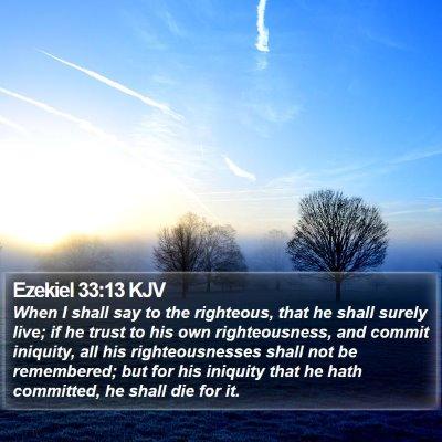 Ezekiel 33:13 KJV Bible Verse Image