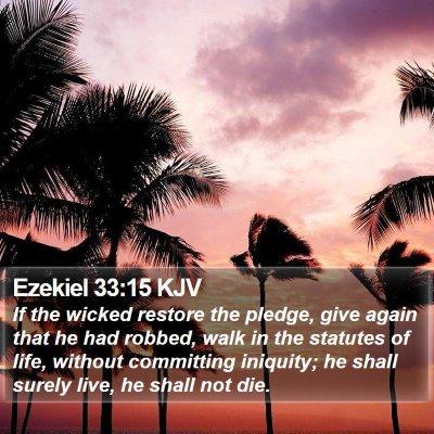 Ezekiel 33:15 KJV Bible Verse Image