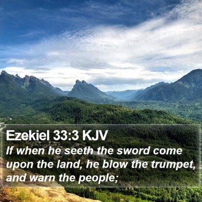 Ezekiel 33:3 KJV Bible Verse Image