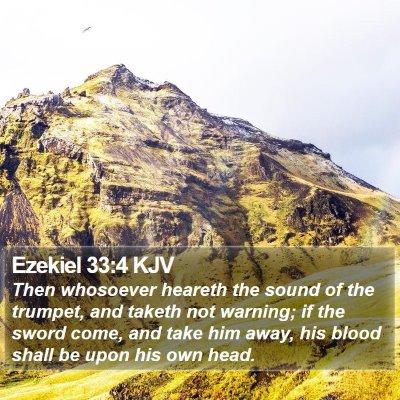 Ezekiel 33:4 KJV Bible Verse Image