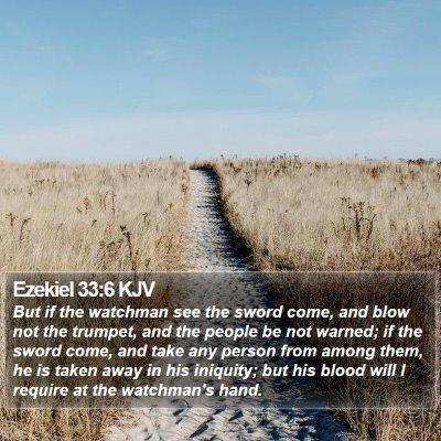 Ezekiel 33:6 KJV Bible Verse Image