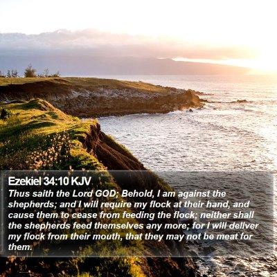 Ezekiel 34:10 KJV Bible Verse Image