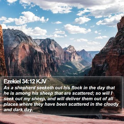 Ezekiel 34:12 KJV Bible Verse Image