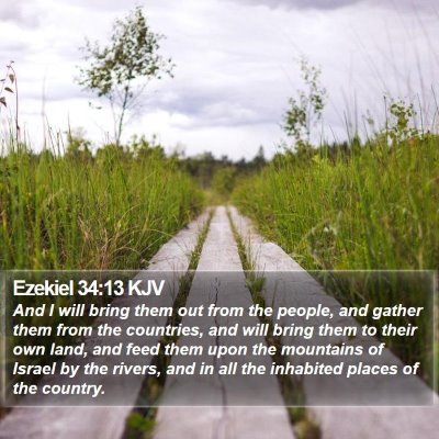 Ezekiel 34:13 KJV Bible Verse Image
