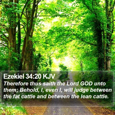 Ezekiel 34:20 KJV Bible Verse Image