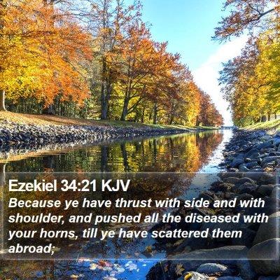 Ezekiel 34:21 KJV Bible Verse Image