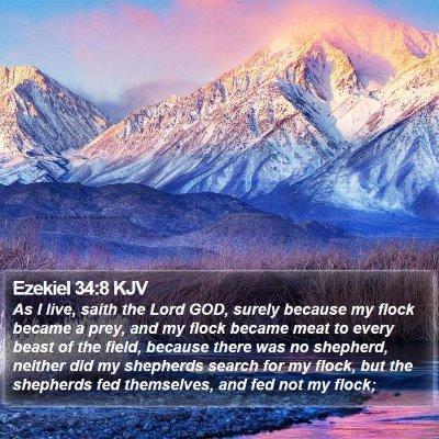 Ezekiel 34:8 KJV Bible Verse Image