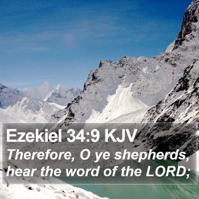 Ezekiel 34:9 KJV Bible Verse Image