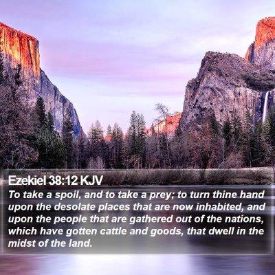 Ezekiel 38:12 KJV Bible Verse Image