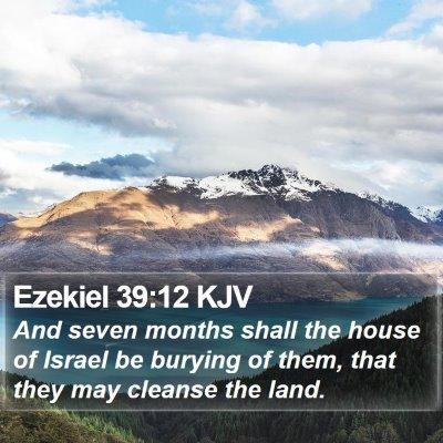 Ezekiel 39:12 KJV Bible Verse Image