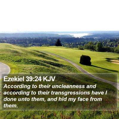 Ezekiel 39:24 KJV Bible Verse Image