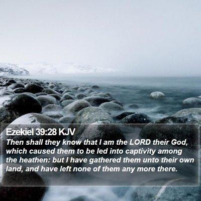 Ezekiel 39:28 KJV Bible Verse Image