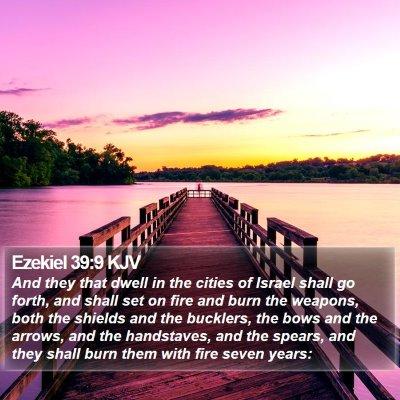 Ezekiel 39:9 KJV Bible Verse Image