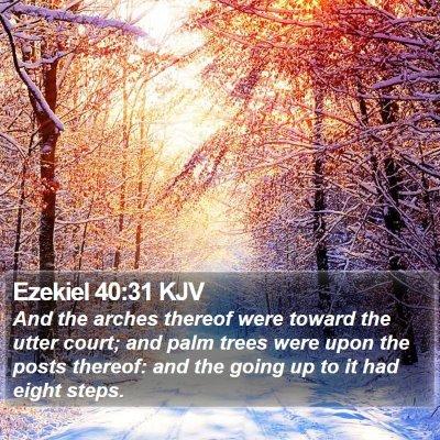 Ezekiel 40:31 KJV Bible Verse Image