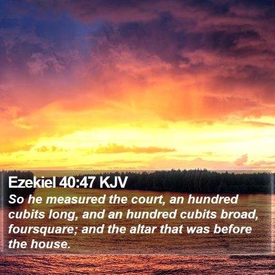 Ezekiel 40:47 KJV Bible Verse Image