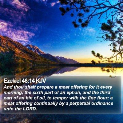 Ezekiel 46:14 KJV Bible Verse Image
