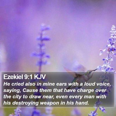 Ezekiel 9:1 KJV Bible Verse Image