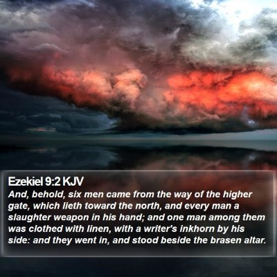 Ezekiel 9:2 KJV Bible Verse Image