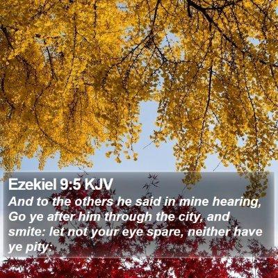 Ezekiel 9:5 KJV Bible Verse Image