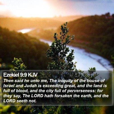 Ezekiel 9:9 KJV Bible Verse Image