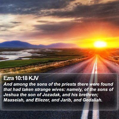 Ezra 10:18 KJV Bible Verse Image