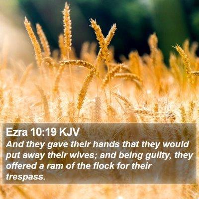 Ezra 10:19 KJV Bible Verse Image