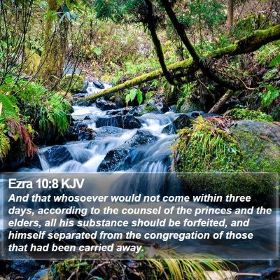 Ezra 10:8 KJV Bible Verse Image
