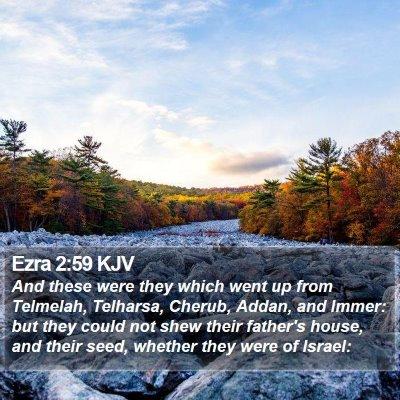Ezra 2:59 KJV Bible Verse Image