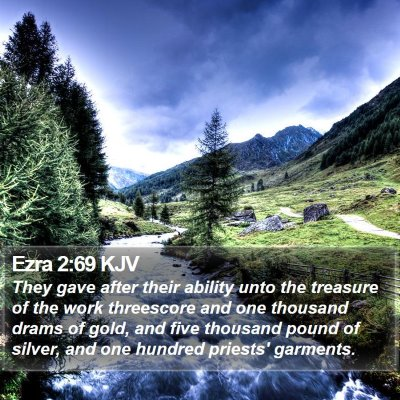 Ezra 2:69 KJV Bible Verse Image
