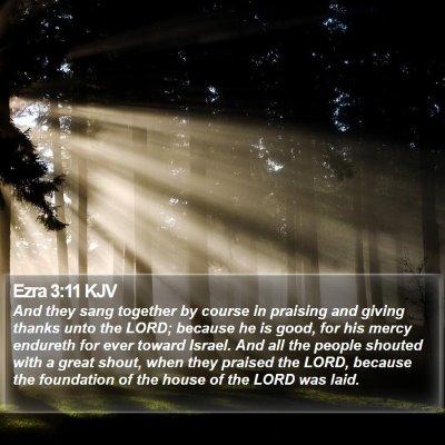 Ezra 3:11 KJV Bible Verse Image