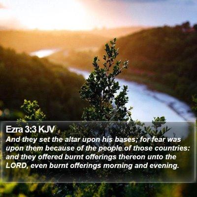 Ezra 3:3 KJV Bible Verse Image