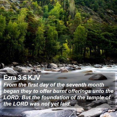 Ezra 3:6 KJV Bible Verse Image