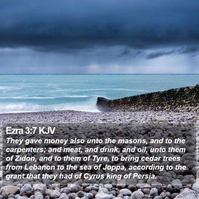 Ezra 3:7 KJV Bible Verse Image