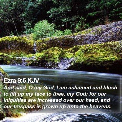 Ezra 9:6 KJV Bible Verse Image