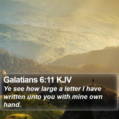 Galatians 6:11 KJV Bible Verse Image