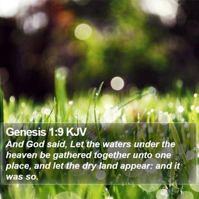 Genesis 1:9 KJV Bible Verse Image