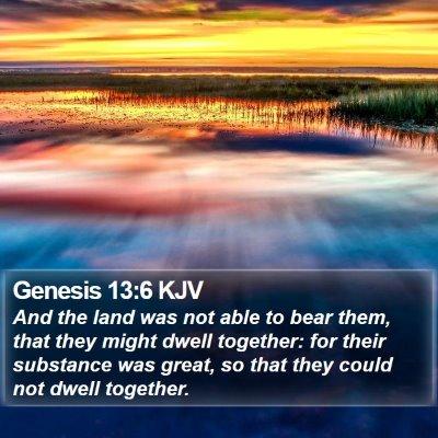 Genesis 13:6 KJV Bible Verse Image