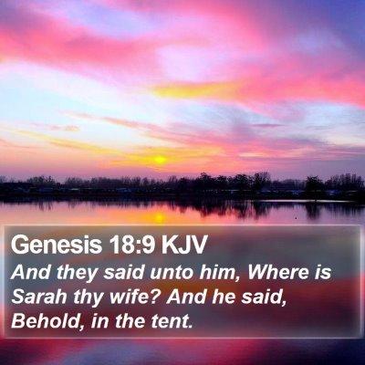 Genesis 18:9 KJV Bible Verse Image