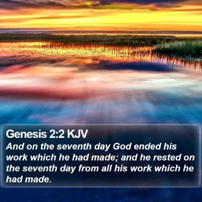 Genesis 2:2 KJV Bible Verse Image
