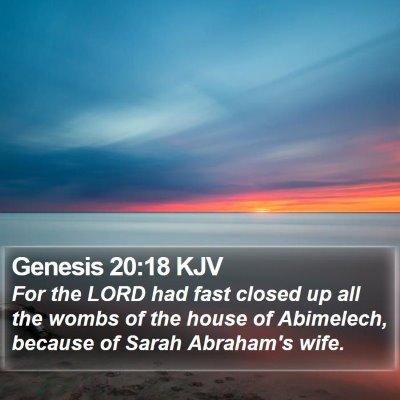 Genesis 20:18 KJV Bible Verse Image