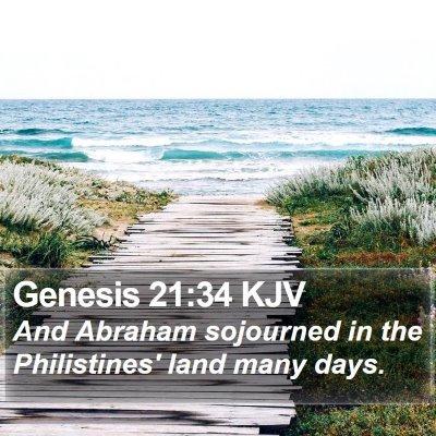 Genesis 21:34 KJV Bible Verse Image