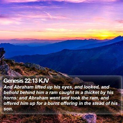 Genesis 22:13 KJV Bible Verse Image