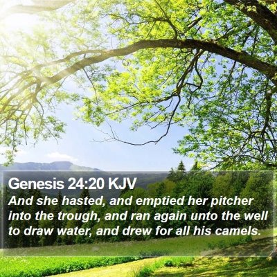 Genesis 24:20 KJV Bible Verse Image
