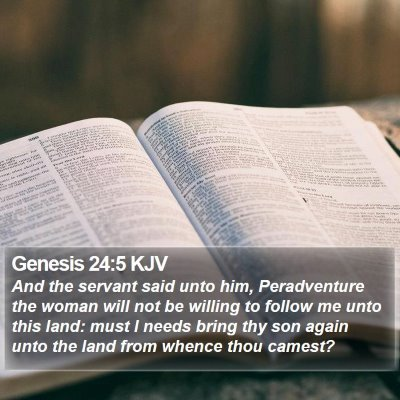 Genesis 24:5 KJV Bible Verse Image