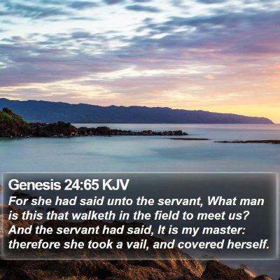 Genesis 24:65 KJV Bible Verse Image